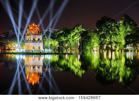 Night View Of The Sword Lake And The Turtle Tower. Hanoi