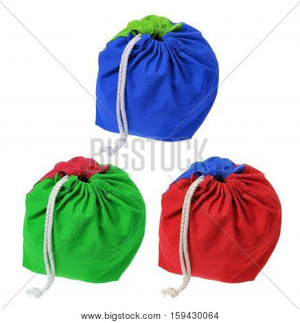Colorful Cloth Drawstring Bags on White Background