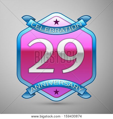 Twenty nine years anniversary celebration silver logo with blue ribbon and purple hexagonal ornament on grey background.