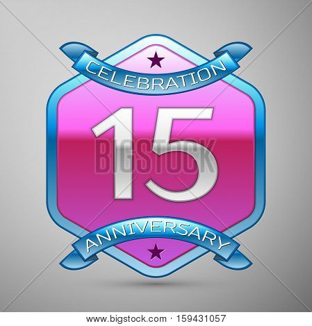 Fifteen years anniversary celebration silver logo with blue ribbon and purple hexagonal ornament on grey background.