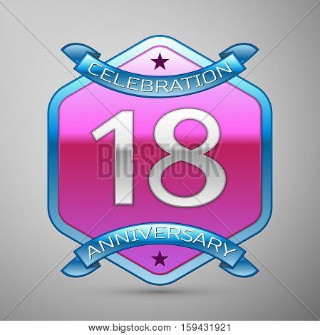 Eighteen years anniversary celebration silver logo with blue ribbon and purple hexagonal ornament on grey background.