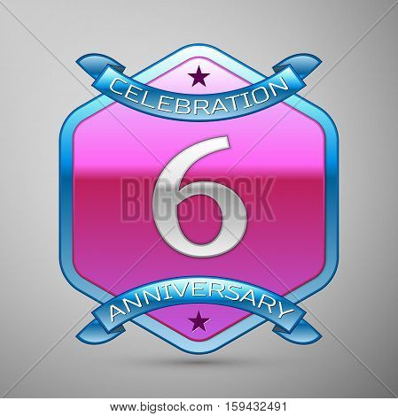 Six years anniversary celebration silver logo with blue ribbon and purple hexagonal ornament on grey background.