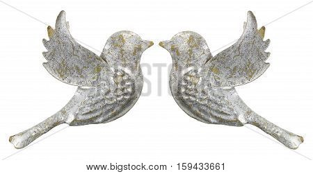 Pair of Dove Ornaments on White Background