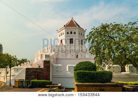 Phra Sumen Fort Bangkok, Thailand. It is the hexagonal-shape concrete fort built in the reign of King Rama I. It is one of two forts that have survived modernization.