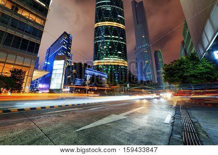 Modern City Traffic At Night In The Zhujiang New Town, Guangzhou