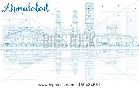 Outline Ahmedabad Skyline with Blue Buildings and Reflections. Business Travel and Tourism Concept with Historic Architecture. Image for Presentation Banner Placard and Web Site.