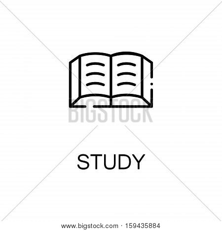 Study flat icon. Single high quality outline symbol of autumn for web design or mobile app. Thin line signs of book for design logo, visit card, etc. Outline pictogram of schoolbook