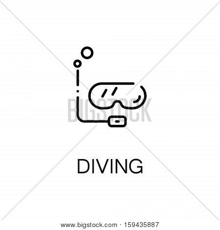 Diving flat icon. Single high quality outline symbol of summer for web design or mobile app. Thin line signs of diving for design logo, visit card, etc. Outline pictogram of diving mask