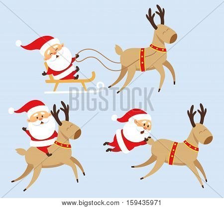 Santa Claus Christmas set. Santa Claus rides in a sleigh, rides a reindeer, fell with reindeer and holding on to his tail. Christmas character design. Santa Clause travel. Funny Father Frost