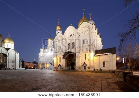 Cathedral Square, Inside Of Moscow Kremlin, Russia. Unesco World Heritage Site