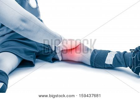 Asian Soccer Player Thigh Pain, Isolated On White Background. Doctor Perform Checking At Thigh Patie