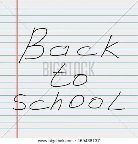 School notebook paper. Back to school. White lined notebook paper