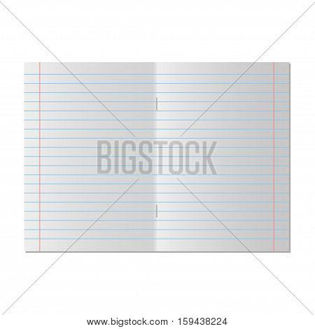School notebook paper. Vector lined notebook paper