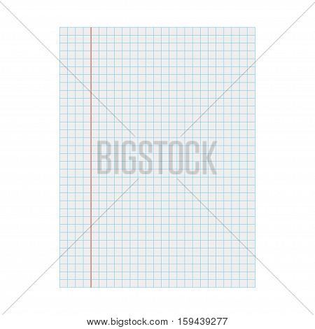 School notebook paper. Squared blank sheet of copybook
