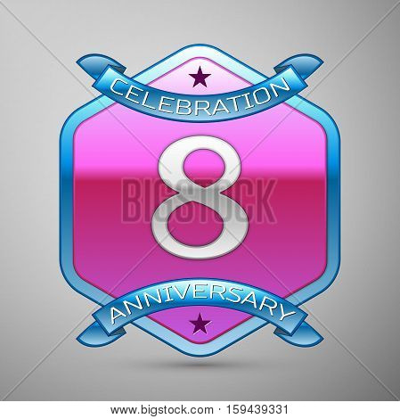 Eight years anniversary celebration silver logo with blue ribbon and purple hexagonal ornament on grey background.