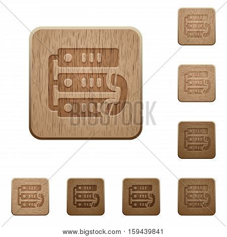 VoIP call icons in carved wooden button styles