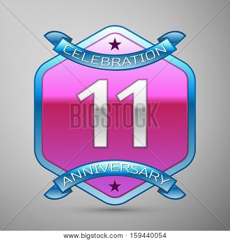 Eleven years anniversary celebration silver logo with blue ribbon and purple hexagonal ornament on grey background.