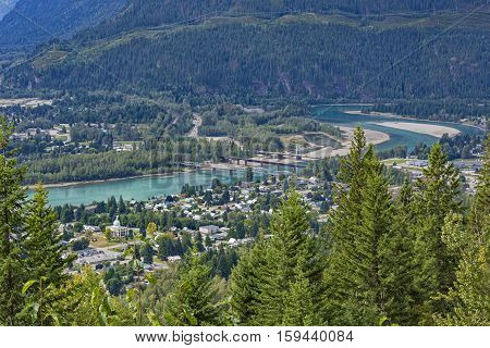 A view of Revelstoke townsite and bridges crossing the Columbia River Revelstoke British Columbia Canada