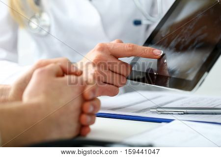 Female Medicine Doctor Hands Hold And Show Digital Tablet Pc