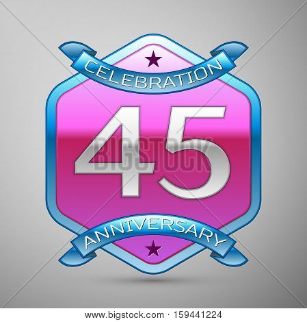 Forty five years anniversary celebration silver logo with blue ribbon and purple hexagonal ornament on grey background.