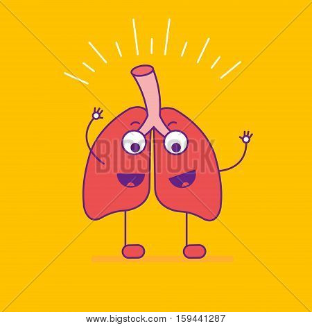 Happy Smiling Lungs Logotype. Cheerful Cartoon Character Logo In Flat Line Style. Positive Respirato