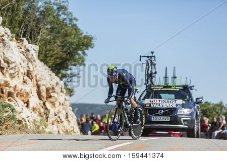 Col du Serre de TourreFrance - July 152016: The Spanish cyclist Alejandro Valverde of Movistar Team riding during an individual time trial stage in Ardeche Gorges on Col du Serre de Tourre during Tour de France 2016.