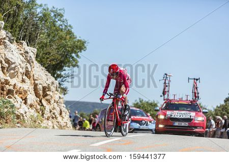 Col du Serre de TourreFrance - July 152016: The Russian cyclist Ilnur Zakarin of Katusha Team riding during an individual time trial stage in Ardeche Gorges on Col du Serre de Tourre during Tour de France 2016.