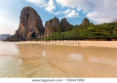 Railay West beach surrounded by cliffs in Ao Nang, Krabi province, Thailand