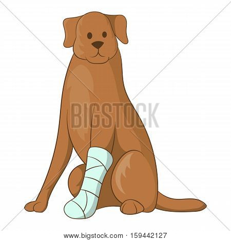 Dog with an injured leg icon. Cartoon illustration of dog with an injured leg vector icon for web
