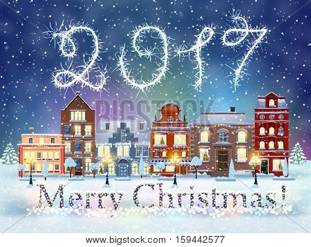 happy new year and merry Christmas winter old town street with trees. Christmas card with cityscape and 2017 sparklers. concept for greeting and postal card, invitation, template, vector illustration