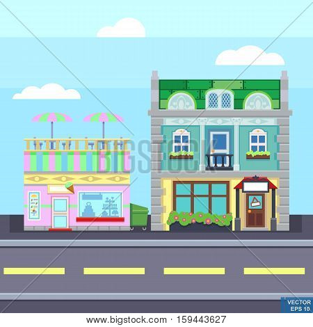 Small Town Urban Landscape In Flat Design Style, Vector Illustration. Buildings, Street Ice Cream Sh