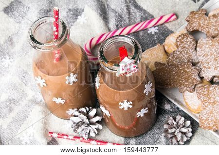 Christmas hot chocolate sweet cookies and colorful decorations