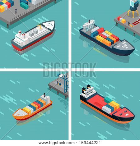 Set of cargo or container ships loading unloading goods in the port. Multi-purpose vessels. Carries equipment, boxes and materials from one port to another. Platform supply feeder vessel. Vector