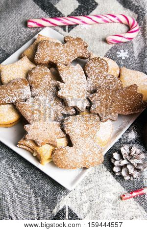 Christmas sweet cookies and colorful decorations - copy space