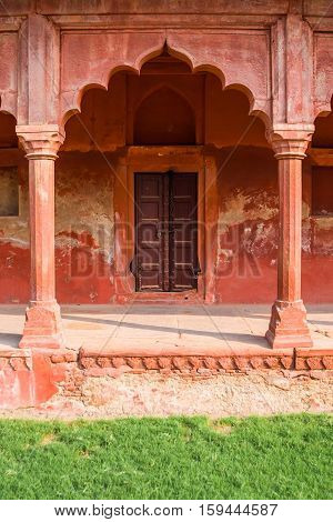 Mughal red sandstone architecture near the Taj Mahal in Agra India.