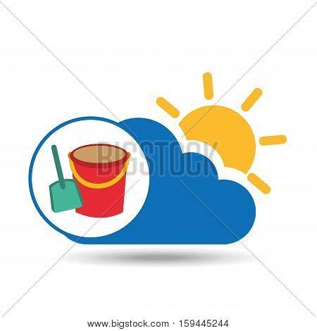 summer vacation design shovel bucket toy vector illustration eps 10