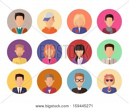 Set of portraits for avatars or userpics in different clothes and hairstyles in flat design. People icons set without facial features. Cartoon man and women character collection. Vector illustration.