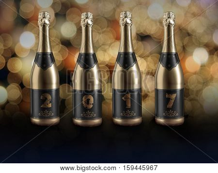 Row of four champagne bottles forming 2017 New Year date agains blurred background
