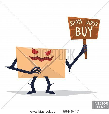 Cartoon Image Of Evil Spam Envelope With Eyes, Arms And Legs Standing On A White Background. Virus L