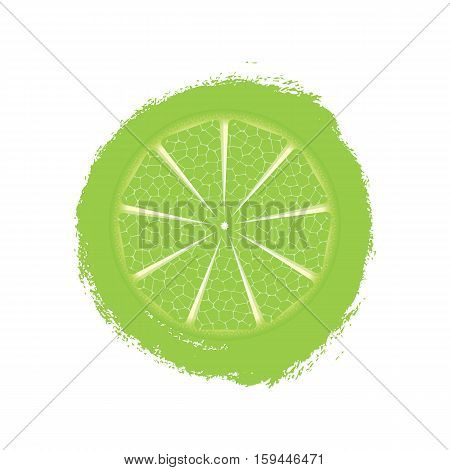 Print With Lime Isolated On White Background