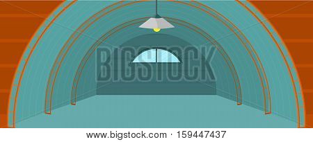 Warehouse hangar building. Flat design. Empty storage room. Spacious storage space for freight and parcels. Rental and sale of commercial real estate. Illustrations for delivery companies ad