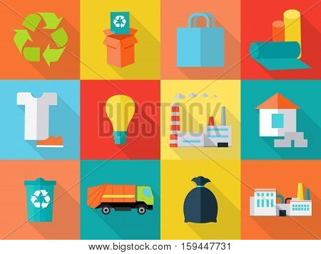 Waste recycling icons sign symbols. Sorting waste as paper, glass, plastic, cloth, rubber. Environmental protection. Garbage destroying. Eco plants and fabrics. Flat style design. Vector illustration