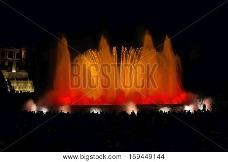 Night view famous Montjuic Fountain in Barcelona Spain