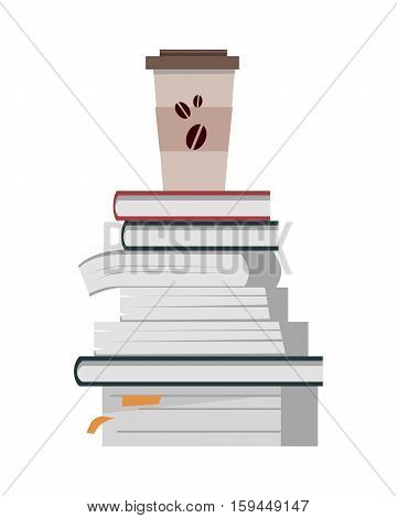 Stack of books with paper cup of coffee in flat. Book pile icon. Coffee hot drinking cup. Business education concept. Set of multicolored books. Isolated vector illustration on white background.