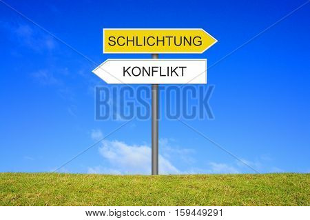 Signpost outside is showing Conflict or Resolution in german language