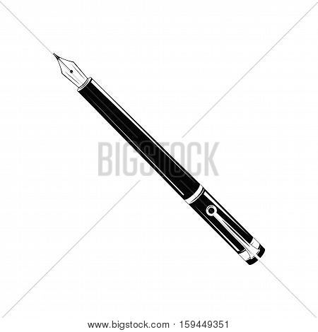oldfashioned fountain-pen writing, vector illustration isolated on white background