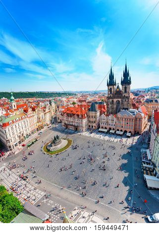 Kostel Panny Marie pred Tynem. Church of the Virgin Mary. Old Town Square in Prague with Tyn church from Clock Tower.