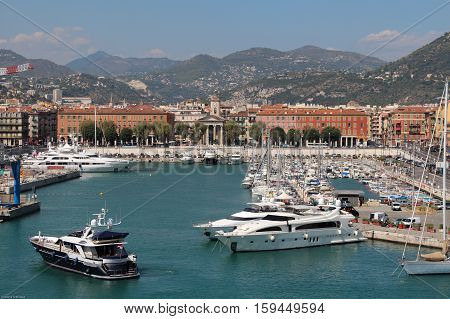 Nice France - August 23 2013: view of The Port De Nice on August 23 2013 in Nice France.