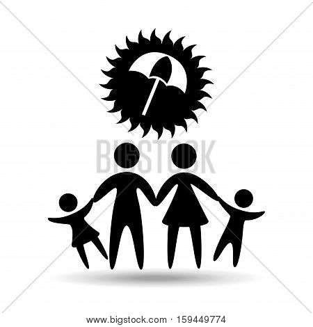silhouette family vacation umbrella protection vector illustration eps 10