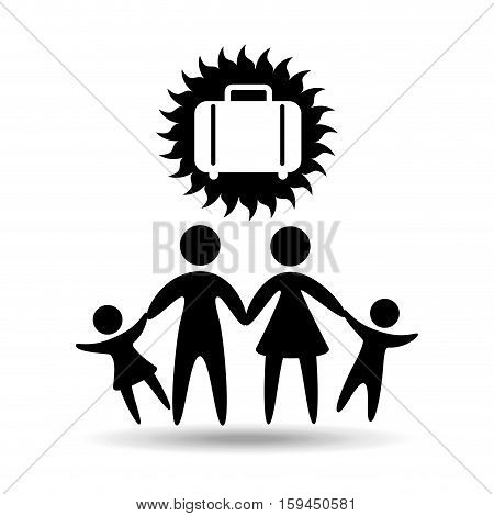 silhouette family vacation suitcase icon vector illustration eps 10
